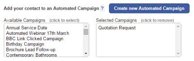 Automated contact forms for website and email campaigns