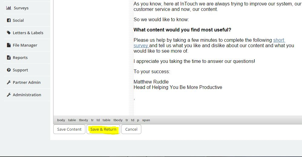 How to Use The InTouch Survey Feature